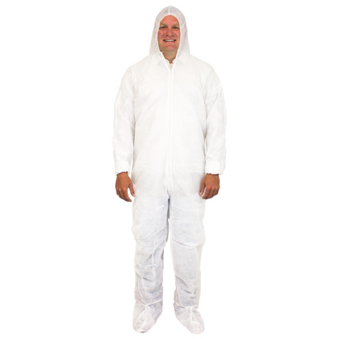 White Coveralls w/Hood And Boots (25/cs)