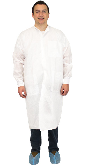 White Lab Coat No Pockets Large Elastic Wrists (30/cs)